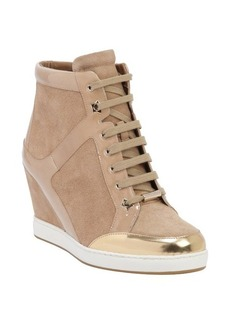 Jimmy Choo khaki patent leather and suede 'Preston' lace up wedged sneakers