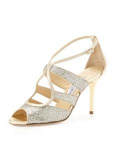 Jimmy Choo Kiera Metallic Glitter Sandal, Champagne