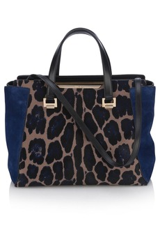 Jimmy Choo 'Large Alfie' Leopard Print Calf Hair & Leather Satchel