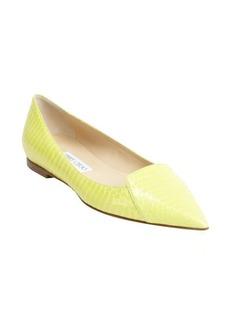 Jimmy Choo lemon snakeskin pointed toe flats