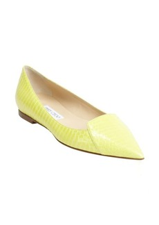 Jimmy Choo lemon snakeskin pointed toe flats