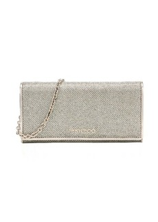 Jimmy Choo light bronze glitter fabric and leather 'Nikita' convertible continental wallet
