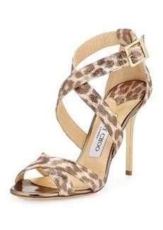 Jimmy Choo Lottie Leopard-Print Metallic Sandal, Gold