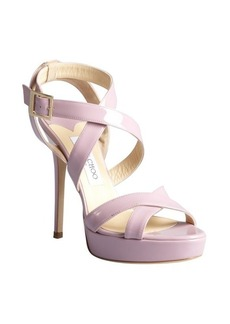 Jimmy Choo lotus pink patent leather crisscross strappy 'Vamp' platform sandals
