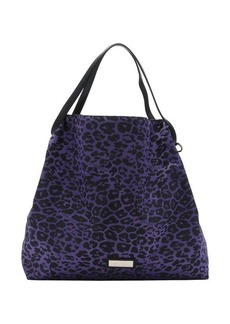 Jimmy Choo magenta leather trimmed logo jacquard 'Cameleon' packable tote