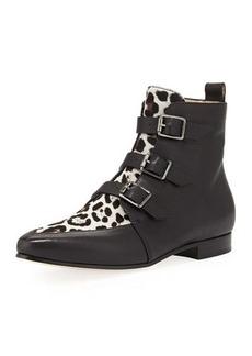Jimmy Choo Marlin Buckled Leopard-Print Ankle Boot, Black/Quartz