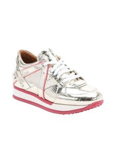 Jimmy Choo metallic gold geranium croc-embossed patent leather 'London' lace-up sneakers