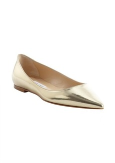 Jimmy Choo metallic gold patent leather 'Alina' ballet flats