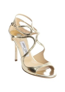 Jimmy Choo metallic gold patent leather 'Lang' strappy sandals