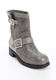 Jimmy Choo metallic grey bucklestrap '141 Youth' boots