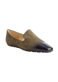 Jimmy Choo military green and black suede 'Wheel' ombre loafers