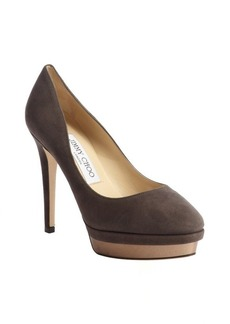 Jimmy Choo mink pewter suede mirrored platform pumps