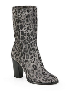 Jimmy Choo Music Leopard-Print Suede Mid-Calf Boots