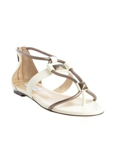 Jimmy Choo nappa white and pewter 'Valaire' piped stud sandals