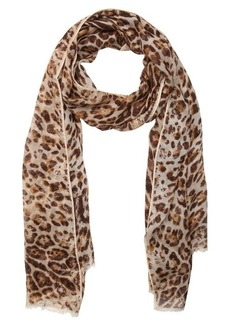 Jimmy Choo natural and brown lightweight leopard print scarf