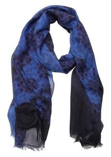 Jimmy Choo navy and black star and cheetah print woven frayed scarf