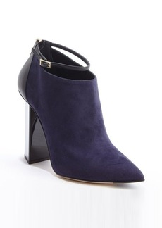 Jimmy Choo navy and black suede ankle strap leather accent boots