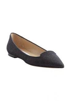 Jimmy Choo navy denim and leather pointed toe 'Attila' flats