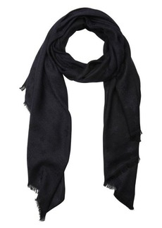 Jimmy Choo navy glimmer star and chain print woven frayed scarf