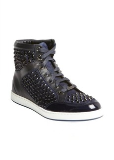 Jimmy Choo navy leather crystal studded hi-top sneakers