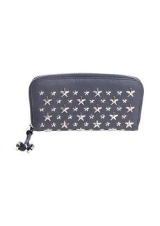 Jimmy Choo navy leather star studded detail zipper wallet