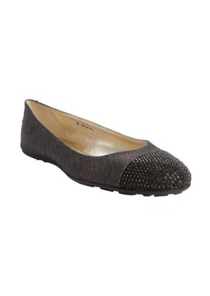 Jimmy Choo navy shimmering canvas crystal accent ballet flats