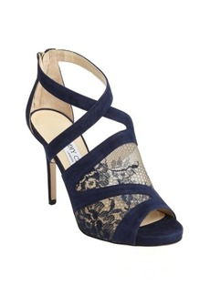 Jimmy Choo navy suede 'Virion' mesh detail open toe pumps