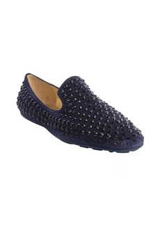 Jimmy Choo navy suede 'Wheel' jewel studded detail slip on loafers
