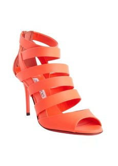 Jimmy Choo neon coral leather strappy 'Durian' peep toe pumps