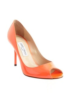 Jimmy Choo neon coral patent leather 'Evelyn' pumps