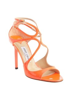 Jimmy Choo neon coral patent leather strappy detail 'Lang' sandals