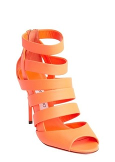 Jimmy Choo neon flame caged leather 'Dame' heel sandals