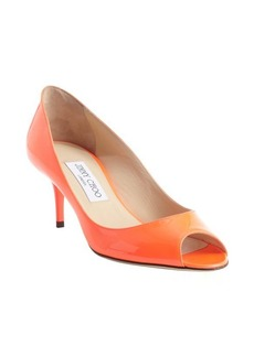 Jimmy Choo neon flame leather peep toe 'Isabel' pumps