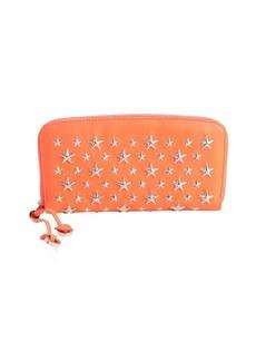Jimmy Choo neon flame leather star-studded 'Filipa' zip wallet