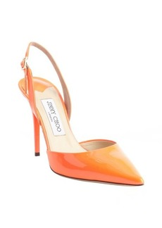 Jimmy Choo neon flame orange patent leather pointed toe 'Tarida' sling backs