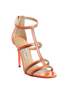 Jimmy Choo neon flame orange patent leather t-strap 'Thistle' sandals