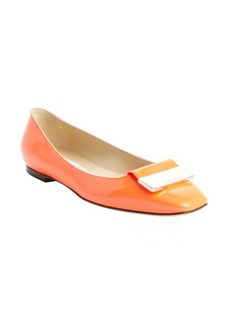 Jimmy Choo neon flame patent leather engraved buckle detail 'Harlow' flats