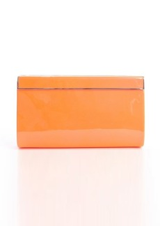 Jimmy Choo neon flame patent leather gold trim 'Cayla' clutch
