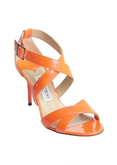 Jimmy Choo neon flame patent leather 'Louise' strappy sandals