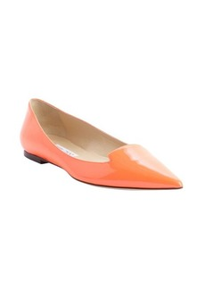 Jimmy Choo neon orange patent leather pointed toe 'Attila' flats
