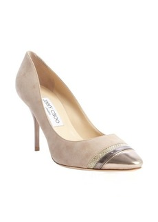 Jimmy Choo nude and gold suede 'Liana' leather and glitter accent pumps