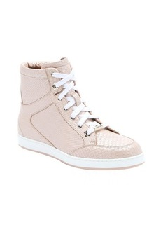 Jimmy Choo nude leather 'Tokyo' scaled hi-top sneakers