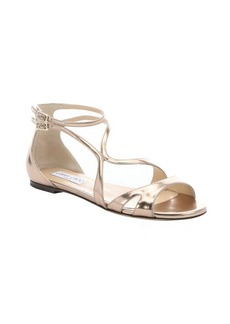 Jimmy Choo nude mirrored leather 'Hasty' flat sandals