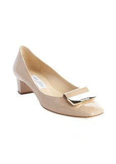 Jimmy Choo nude patent leather logo buckle detail pumps