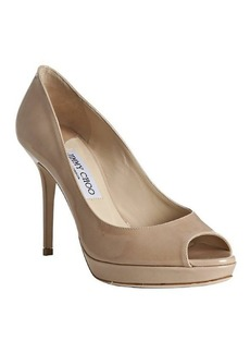 Jimmy Choo nude patent leather 'Luna' peep toe pumps