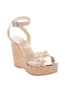 Jimmy Choo nude patent leather 'Papyrus' cork wedge sandals