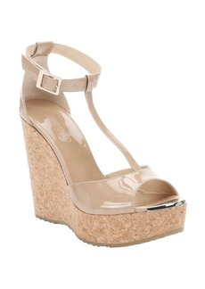 Jimmy Choo nude patent leather 'Pela' cork wedge sandals