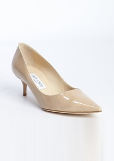 Jimmy Choo nude patent leather pointed toe 'Aza' kitten pumps