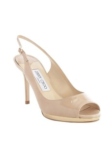Jimmy Choo nude patent leather sling back open toe '144 Alexis' flats