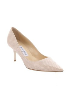 Jimmy Choo nude pearlescent snake printed leather 'Aurora' kitten pumps